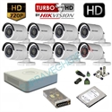 Imaginea Kit supraveghere video complet Hikvision cu 8 camere HD 720p, HDD 1TB, accesorii, configurare inclusa