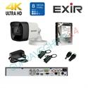 Imaginea Kit supraveghere 4K - 8 Megapixel Hikvision complet cu 1 camera 8MP, DVR, HDD 1TB, accesorii, configurare gratuita