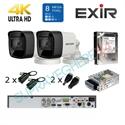Imaginea Kit supraveghere 4K - 8 Megapixel Hikvision complet cu 2 camere 8MP, DVR, HDD 1TB, accesorii, configurare gratuita