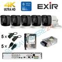 Imaginea Kit supraveghere 4K - 8 Megapixel Hikvision complet cu 5 camere 8MP, DVR, HDD 1TB, accesorii, configurare gratuita