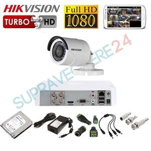 Imaginea Kit supraveghere video CCTV Hikvision cu HDD 1TB, 1 camera 1080p, accesorii, configurare inclusa