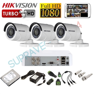 Imaginea Kit supraveghere video CCTV Hikvision cu HDD 1TB, 3 camere 1080p, accesorii, configurare inclusa