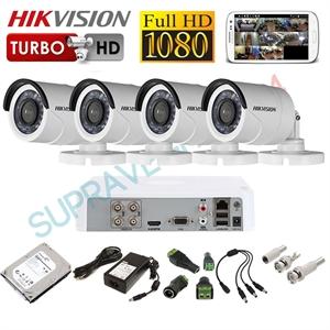 Imaginea Kit supraveghere video CCTV Hikvision cu HDD 1TB, 4 camere 1080p, accesorii, configurare inclusa