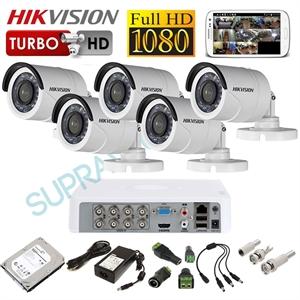 Imaginea Kit supraveghere video complet CCTV Hikvision cu HDD 1TB, 5 camere 1080p, accesorii, configurare inclusa