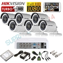 Imaginea Kit supraveghere video complet CCTV Hikvision cu HDD 1TB, 6 camere 1080p, accesorii, configurare inclusa