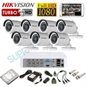 Imaginea Kit supraveghere video complet CCTV Hikvision cu HDD 1TB, 7 camere 1080p, accesorii, configurare inclusa