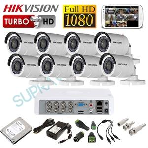 Imaginea Kit supraveghere video complet CCTV Hikvision cu HDD 1TB, 8 camere 1080p, accesorii, configurare inclusa