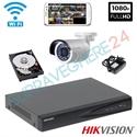 Imaginea Sistem supraveghere wireless cu 1 camera wifi cu microfon pentru exterior, 2MP 1080p , HDD 1TB , NVR , accesorii, configurare