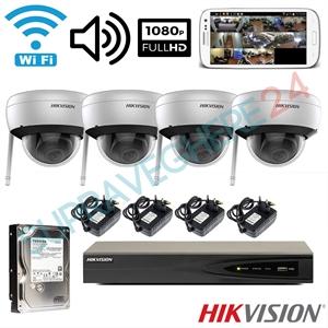 Imaginea Sistem supraveghere cu 4 camere WiFi cu microfon, interior / exterior, FullHD, Configurare inclusa