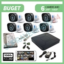 Imaginea Kit supraveghere video complet cu 6 camere FullHD, 2 megapixel, HDD 1TB, DVR, accesorii, configurare inclusa