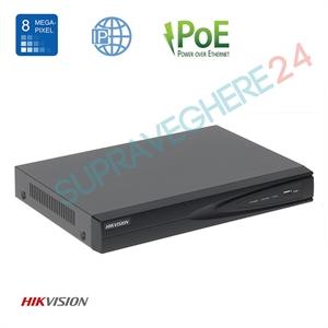 Imaginea NVR 8 canale PoE pentru 8 camere IP 4K UltraHD, 8MP/camera, ONVIF, H265, Hikvision 7608NI-K1/8P