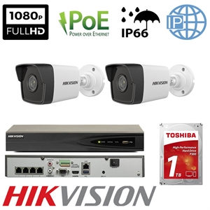 Imaginea Kit Complet PoE cu 2 Camere IP Hikvision 2 Megapixel, FullHD, configurare inclusa