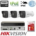 Imaginea Kit Complet PoE cu 3 Camere IP Hikvision 2 Megapixel, FullHD, configurare inclusa