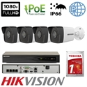 Imaginea Kit Complet PoE cu 4 Camere IP Hikvision 2 Megapixel, FullHD, configurare inclusa