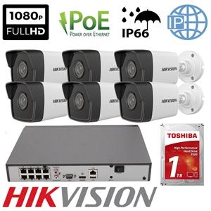 Imaginea Kit Complet PoE cu 6 Camere IP Hikvision 2 Megapixel, FullHD, configurare inclusa