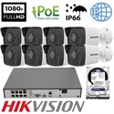 Imaginea Kit Complet PoE cu 8 Camere IP Hikvision 2 Megapixel, FullHD, configurare inclusa