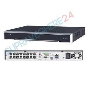 Imaginea NVR 16 canale PoE pentru 16 camere IP 4K UltraHD, 8MP/camera, 2xHDD, ONVIF, H265, Hikvision 7616NI-K2/16P