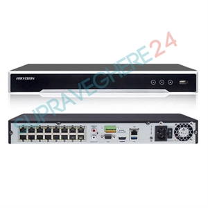 Imaginea NVR 16 canale PoE pentru 16 camere IP 4K UltraHD, 12MP/camera, 2xHDD, ONVIF, H265, Hikvision 7616NI-I2/16P