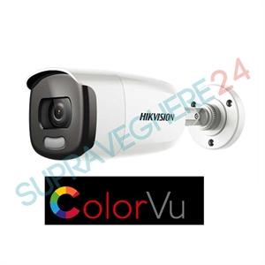 Imaginea Camera exterior color noaptea ColorVu, FullHD 2 megapixel, iluminare LED 40m, Hikvision DS-2CE12DFT-F