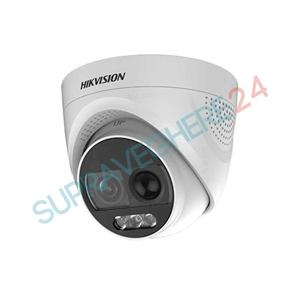 Imaginea Camera color noaptea ColorVu, sirena si flash, 2 Megapixel, iluminare LED 20m, Hikvision DS-2CE72DFT-PIRXOF