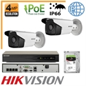 Imaginea Kit Complet IP PoE - 2 Camere IP Hikvision 4 Megapixel, NVR 4 canale PoE si HDD 1TB, configurare